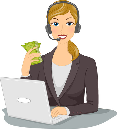 customer service representative: Illustration Featuring a Woman Doing Business From Home