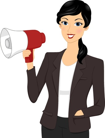 press release: Illustration Featuring a Businesswoman Holding a Megaphone