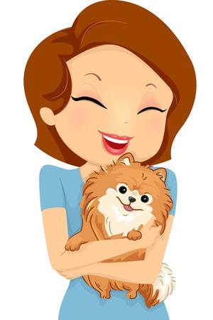 cartoon dog: Illustration Featuring a Girl Hugging Her Pet Dog