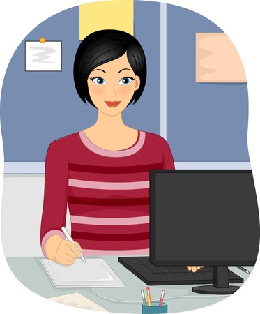 pen tablet: Illustration Featuring a Female Graphic Designer Using a Pen Tablet Illustration