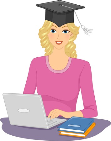 tertiary: Illustration Featuring a Woman Wearing a Graduation Cap Typing Away on Her Laptop