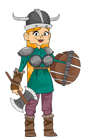 Illustration Featuring a Woman Wearing a Viking Costume and Carrying Viking Weapons Vector