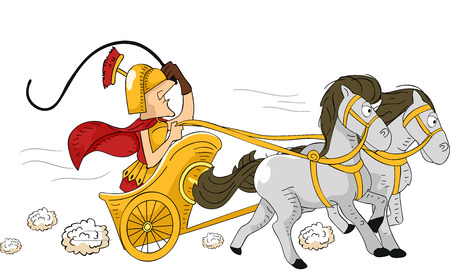 Illustration Featuring a Roman Man Driving a Chariot
