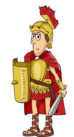 Illustration Featuring a Roman Soldier Stock Illustratie