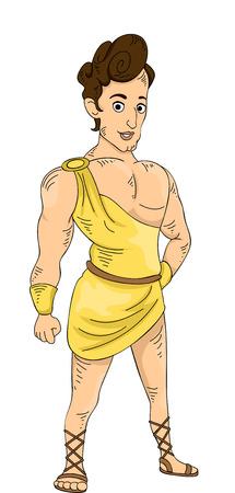 greek god: Ilustraci�n con un joven y muscular dios griego