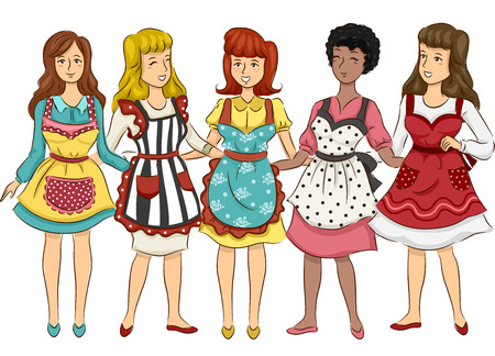 Illustration Featuring a Group of Women Wearing Aprons with Retro Designs Vector