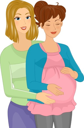 childbirth: Illustration Featuring a Doula Assisting a Pregnant Woman