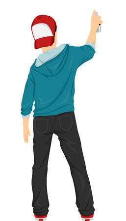 Illustration Doté d'un adolescent tenant un traîneau de Spray Paint Banque d'images - 33397011
