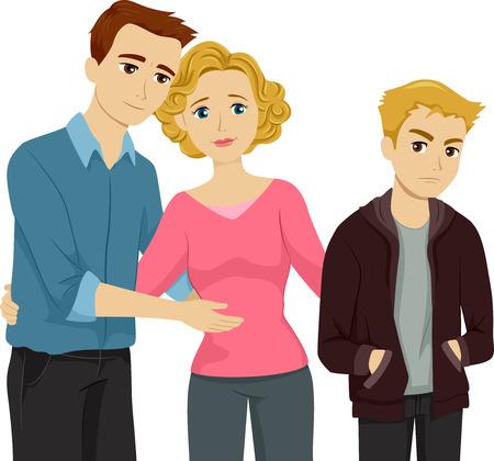 introducing: Ilustraci�n que ofrece una Madre Presentaci�n de Su Hijo a su padrastro Vectores