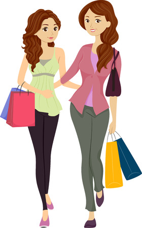 retail therapy: Illustration Featuring a Mom and Daughter Shopping Together
