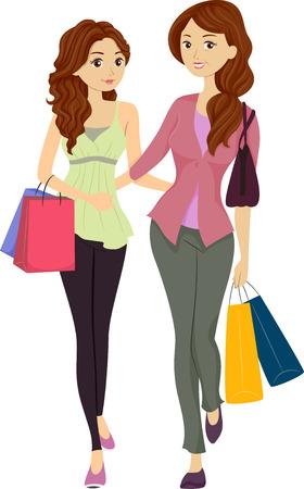 madre e hija adolescente: Ilustración con una mamá e hija de compras juntos