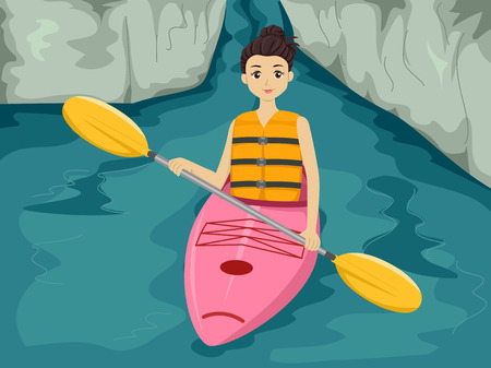 ocean kayak: Ilustraci�n con una chica Maniobrar un kayak