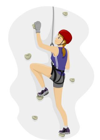 Illustration Featuring a Girl Rock Climbing 일러스트