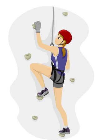 Illustration Featuring a Girl Rock Climbing Vettoriali