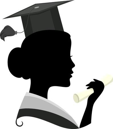 cliparts: Illustratie die het silhouet van een vrouw draagt een Graduation Kostuum