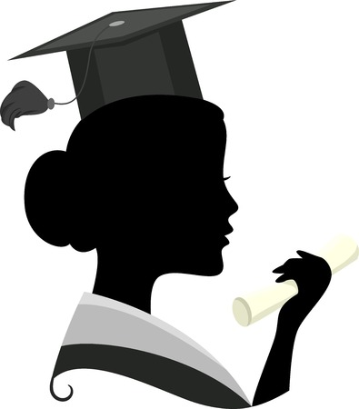 cartoon graduation: Illustration Featuring the Silhouette of a Woman Wearing a Graduation Costume