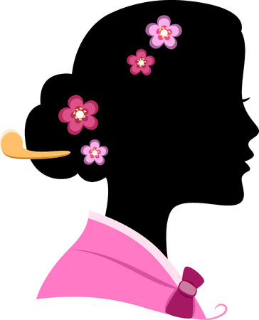 Illustration Featuring the Silhouette of a Korean Woman Vector