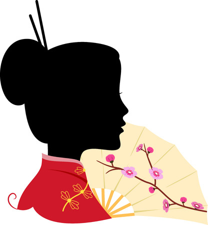 Illustration Featuring the Silhouette of a Chinese Woman Vector