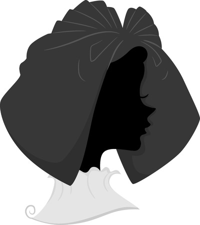 headdress: Illustration Featuring the Silhouette of a French Woman