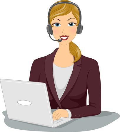 Illustratie die een vrouw draagt een hoofdtelefoon werken vanuit huis