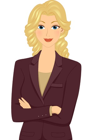 Illustration Featuring a Businesswoman Striking a Pose