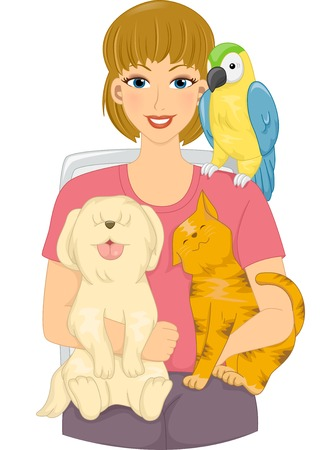 cat: Illustration Featuring a Girl Surrounded by Pets