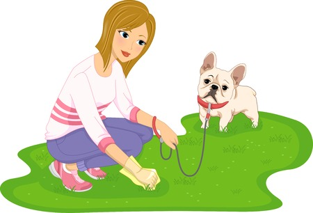 dog walking: Illustration Featuring a Woman Cleaning After Her Dog