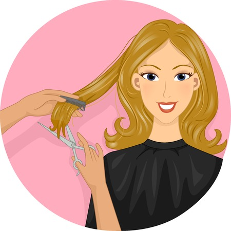 hair dresser: Icon Illustration Featuring a Girl Getting Her Hair Cut Illustration