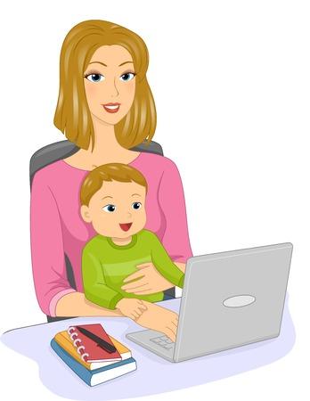 niños platicando: Ilustración con una madre y su bebé que ejercen una línea para chatear