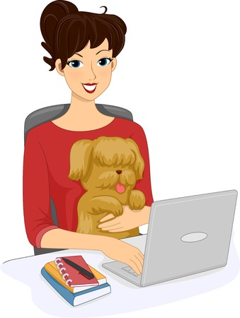 Illustration Featuring a Woman Browsing the Internet With Her Dog Vector