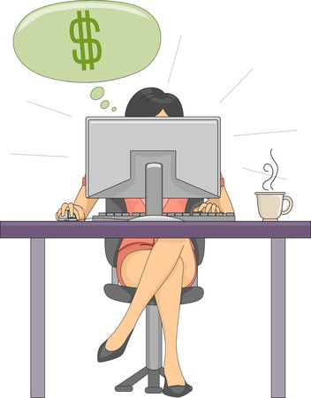 telecommuter: Illustration Featuring a Woman Earning Dollars From Her Online Job Illustration