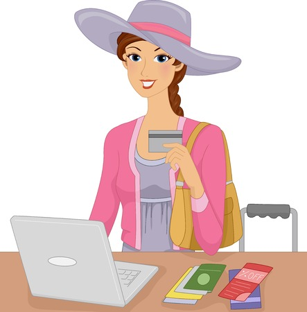 credit card business woman: Illustration Featuring a Woman Making an Online Purchase