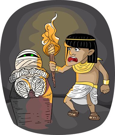 cripta: Illustrazione con un uomo egiziano che ha appena trovato una mummia