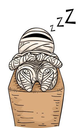 Illustration Featuring a Sleeping Mummy Vector