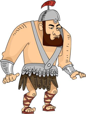 Illustration Featuring a Huge Roman Gladiator Illustration