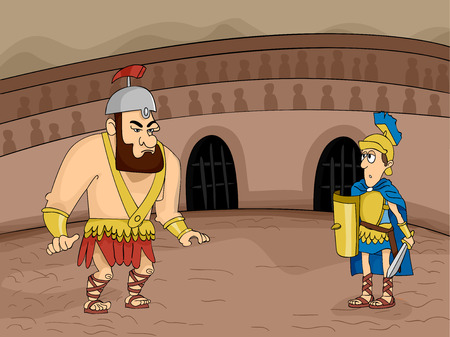Illustration Featuring Gladiators Facing Each Other in Combat