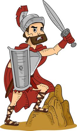 Illustration Featuring a Roman Warrior Vector