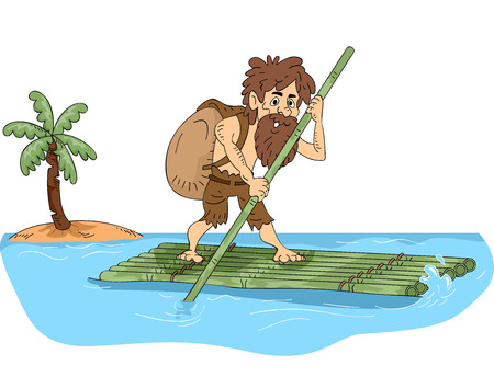 castaway: Illustration Featuring a Male Castaway Maneuvering a Bamboo Raft Illustration