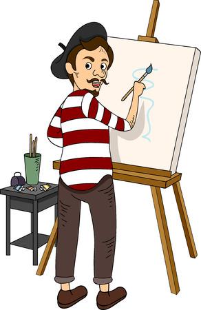 Illustrazione con un pittore francese Archivio Fotografico - 33397222