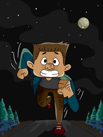 Illustration Featuring a Man Running in the Middle of the Night Vector