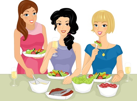 friends eating: Illustration Featuring a Group of Women Having a Salad Party