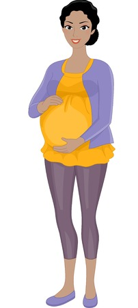 black pregnant woman: Illustration Featuring a Pregnant African Woman