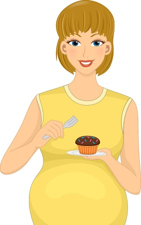 Illustration Featuring a Pregnant Caucasian Eating a Cupcake Vector