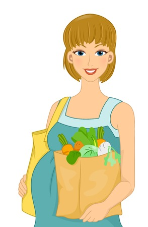 Illustration Featuring a Pregnant Woman Carrying Groceries Vector
