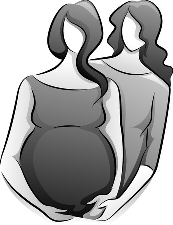 Black and White Illustration Featuring a Doula Assisting a Pregnant Woman Vector