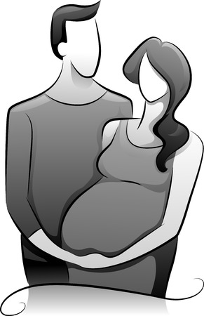 black pregnant woman: Illustration Featuring a Couple Expecting a Child