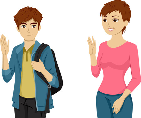 Illustration Featuring a Teenaged Boy Waving Goodbye to His Mom