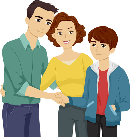 Illustration Featuring a Mother Introducing Her Son to His Stepfather Vector