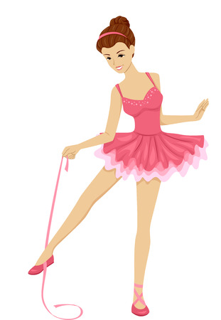 Illustration Featuring a Ballerina Holding a Length of Ribbon