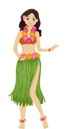 Illustration, die eine Mädchen-Tanzen ein Hawaii-Tanz